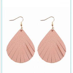 Jewelry - Leather fringe earrings